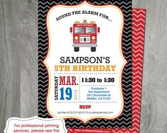 Fire Truck Birthday Invitation, Digital File, Custom, Personalized, DIY, Party Printable, Fire Engine