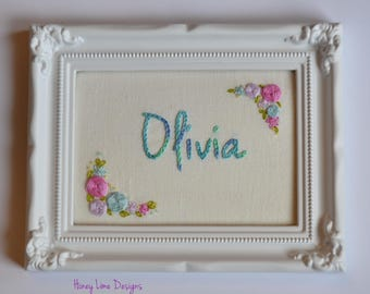 Personalized Hand Embroidered Name - Roses