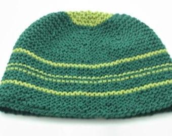 Mens handknit large wool hat