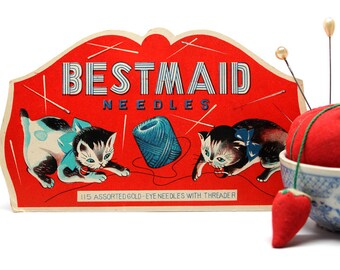 Bestmaid Needle Pack*Vintage Sewing Supply*Made in Japan*Playful Cats
