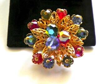 Glass Beads & Golden Filigree Vintage Floral Brooch Pin circa 1960