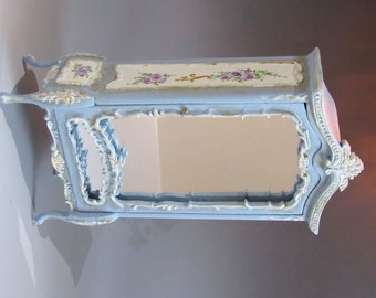 1:12th scale ~ Dolls House ~ Hand Painted. French Mirrored Armoire