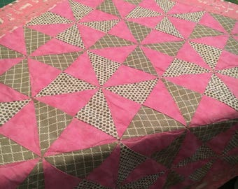 Pink and Grey Baby Girl Quilt and Diaper Bag Matching Set