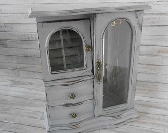 Painted Jewelry Box- Vintage Jewelry Box- Gray Jewelry Box-Cottage Chic Jewelry Box - Wood Jewelry Box - Jewelry Box
