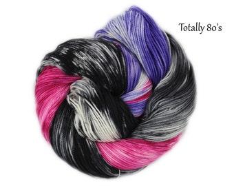 Totally 80's - Hand Dyed Hand Painted 100% Superwash Merino Wool Sock Yarn 4oz/116g/400yrds