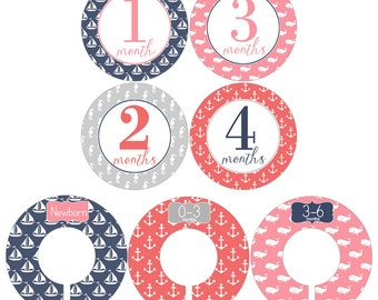 Monthly Stickers and Clothing Dividers Gift Set for Baby Girls in Pink Nautical Designs - BGS007