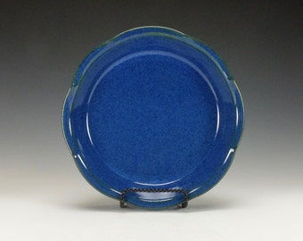 Pottery Pie Plate with ruffled lip.  Stoneware.  Cobalt blue.  Ready to ship.