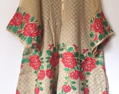 Agha Noor cotton net kurti, beige kurti, short tunic, peplum shirt, criss cross gold embroidery