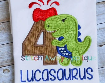 Dinosaur & Volcano Birthday Custom Tee Shirt - Customizable -  Infant to Adult 47