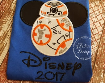 BB8 Mouse Custom embroidered Disney Inspired Vacation Shirts for the Family! 68a