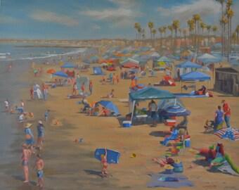 Newport Beach - Beach - Holiday - Umbrellas - Coast - Sand - Seaside - Seascape - Ocean - Plein Air - Oil Painting - California - Surf - Sea