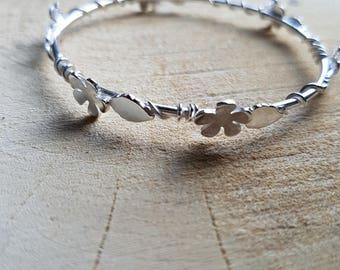 Flower Bangle, Leaf Bangle, Flower Leaf Bangle, Bangle Bracelet, Nature Bangle Bracelet, Nature Jewellery, Valentines Gift, Girlfriend Gift