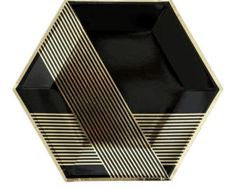 Noir - Black Hexagon Large Party Plates - metallic gold black paper plates birthday wedding shower Harlow & Grey