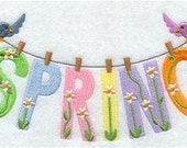 Spring Clothesline Embroidered Towel | Flour Sack Towel | Linen Towel | Dish Towel | Kitchen Towel | Hand Towel | Spingtime