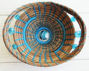 Turquoise Basket Pine Needle Basket Housewarming Basket For Him Basket For Her Blue Pine Needle Basket Wedding Basket Native American Basket