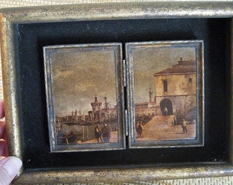 Gorgeous Vintage Set of Venetian prints, a diptych within a frame