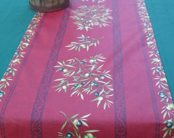Table Runner Cotton coated , oilcloth. fabric from Provence, France .olives in  burgandy