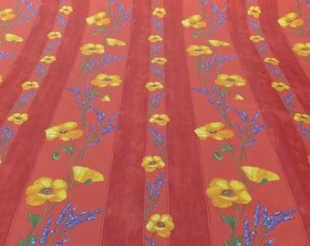 Fabric by the yard, Cotton oilcloth, cotton coated,French fabric from Provence. poppies in terra cotta