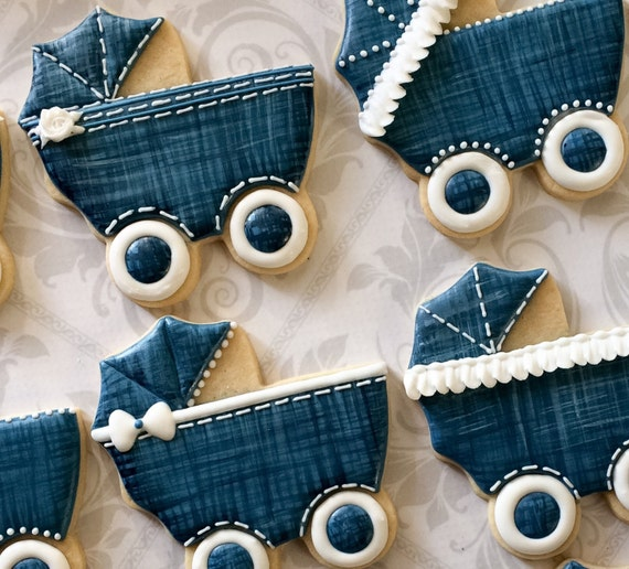denim baby carriage cookies one dozen decorated sugar cookies