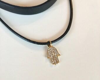 Hamsa Hand Charm Leather Choker, Hand of Fatima, Black Leather necklace, Gold Plated rhinestone Charm, Boho, promotion jewelry, prom2017