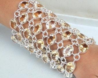 Fabulous! Sterling Silver Citrine Stones Cuff Bracelet