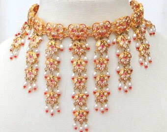 Vintage Antique Solid 22 Ct Gold Necklace Choker India