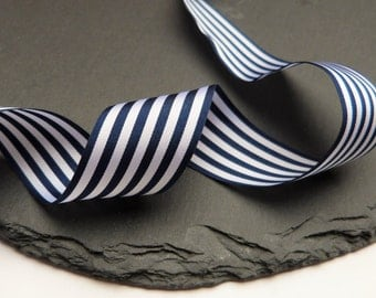 Navy Blue And White Stripe Ribbon 25mm Wide Per Metre Berisfords ---1---
