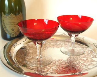 Red Champagne Coupe Glasses | Champagne Saucers | Cocktail  Glasses | Bride and Groom Toasting Glasses | Set of 2 | Vintage Glassware