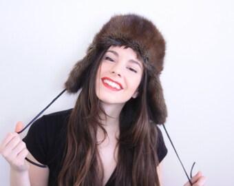 Brown Fur Trapper Hat . 1960s hat Brown Fur Hat Winter Hat Brown fur flap hat 60s hat vintage fur hat vintage hat mink hat