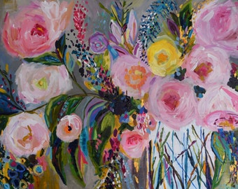"""Fine Art PRINT, Large Still Life, Abstract Flowers, Colorful Bouquet with Grey, Pink, and Gold  by Carolyn Shultz """"Joy"""""""