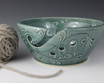 Yarn Bowl, 8 inches wide, tip resistant, Crochet, Knitting, Teal Green, gift, present, Mothers day, christmas, IN STOCK, ready to ship