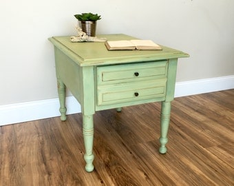 Green End Table - Sofa Side Table - Country Cottage Furniture - Nightstand Table - Side Table for Living Room - Rectangle End Table