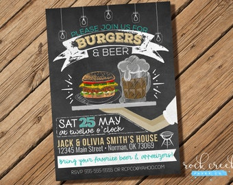Chalkboard Burgers & Beer Invitation, Barbecue Party Invitation, BBQ Party Invitation, BBQ Birthday Party, Printable Party Invitation