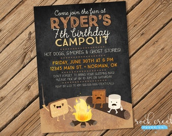 Campfire & S'mores Invitation, Camping Party, Campout Party, Tent Camping invitation, Printable Birthday Party Invitation