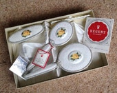 "Boxed ""Regent of London"" 4 Piece English Bone China and Lace Dressing Table Set"