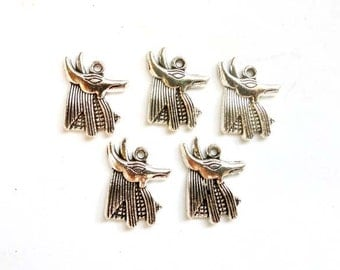5 Antique Silver Anubis Egyptian Dog Head Charms - 27-31-3