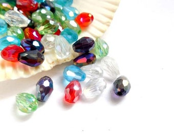50 Assorted Electroplated Teardrop Faceted Glass Beads - 24-25A