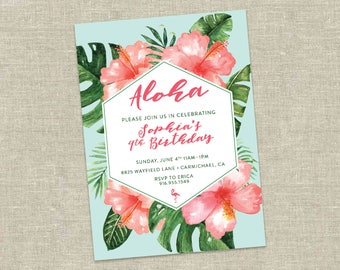Tropical Birthday Invitation, Luau Birthday Party, Hawaiian Birthday Invitation, Flamingo Birthday Invitation, Printable DIY Digital
