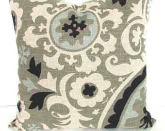 Black PILLOW Tan Pillow Covers Tan Decorative Throw Pillows BLACK Ikat pillow Covers Tan Khaki Spa Blue 16 18x18 20 .All Sizes. Home Decor