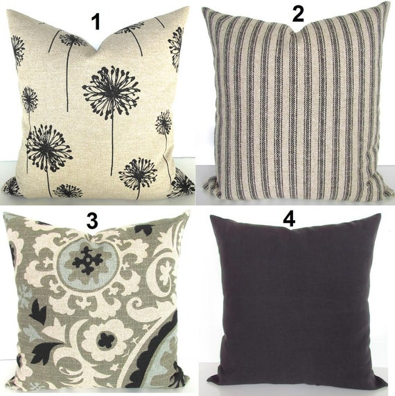 Items similar to Black PILLOWS Decorative Throw Pillow Covers Black Pillows Ikat pillows Tan ...