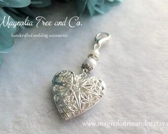 Heart Locket Wedding Bouquet Charm, Bridal Charm, Memorial Charm, Pendant, Heart Wedding Charm, Shower Gift, Something Blue, (BC026)