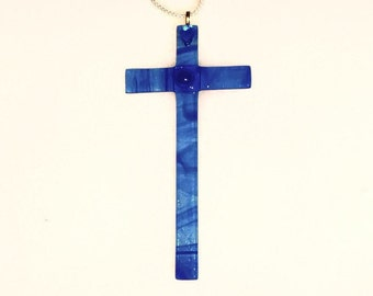 Glass Cross - Fused Glass Cross  - Blue Glass Crosses