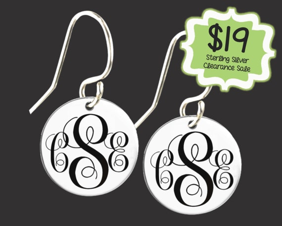 CLEARANCE SALE | Personalized 925 Sterling Silver Monogram Earrings | Monogram Earrings | Daughter Gift | Bridesmaid Gifts | Korena Loves
