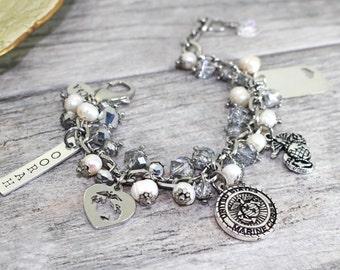 Stainless Steel USMC Charm Bracelet | Marine wife, girlfriend, mother, grandmother Bracelet | Marine Corps Bracelet | OORAH | Marine Jewelry