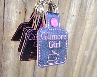 Inspired by Gilmore Girls faux leather keychain