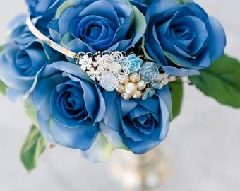 Something Blue Headband, Blue Floral Headband, Blue Vintage Bridal Headband, Shabby Chic Headband, Blue Garden Wedding, Wedding Headband