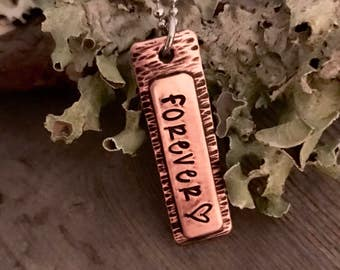 Forever - Personalized Jewelry - Hand Stamped - Copper Jewelry - Name Jewelry - Gifts for Her - Necklace - Mother's Day - Stamped Jewelry