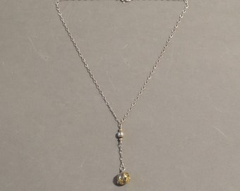 Vintage Y Necklace Sterling Silver & Gold Cut Out Metal Lariat Lavalier Downton Abbey Style Jewelry