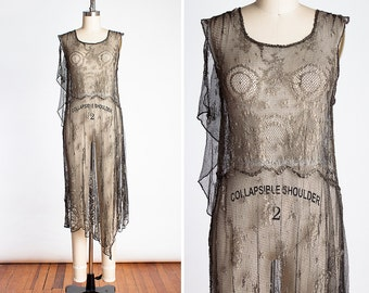 RARE 1920s Parisian RISQUE Metallic Lace Asymmetrical Flapper Evening Dress - Folies Bergere - Ziegfeld Follies