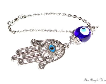 Hamsa Hand Rear View Mirror Car Charm, Gemstone Charm, Blue Mirror Charm, Car Charm, Evil Eye Charm, Car Accessories New Car Gift, Evil Eye